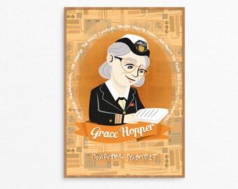 Grace Hopper, Frauen in der Wissenschaft Plakat illustriert, Plakat, Frauen der Wissenschaft, Geschenk für Programmierer, Frauen Stamm Porträt, Grace Hopper Druck