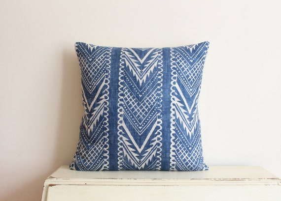 Block printed chevron pillow cushion cover in indigo