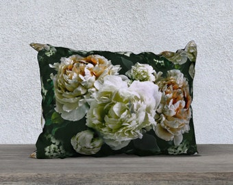 Velvet pillow, Peony and Dogwood lumbar throw pillow, velveteen pillow flowers on greens, 20x14in, decorative cushion pillow, gift for Mum