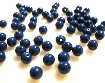 Woodstock Retro: 6mm Navy Blue Czech Druk Beads