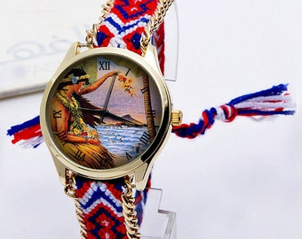 Hawaiian Hula Girls, Braided Ornamented Strap, Hawaiian Dancer Vintage Style, Ladies Watch, Ladies Watch, Gift Ideas.