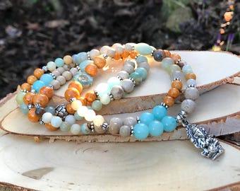 Mala Chain 108 beads Ganesha Lotus Jade Amazonite prayer Chain
