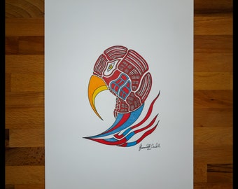 Original Abstract Pen and Ink Drawing on Paper // The Patriot // House Warming Gift // Ready to Frame Art