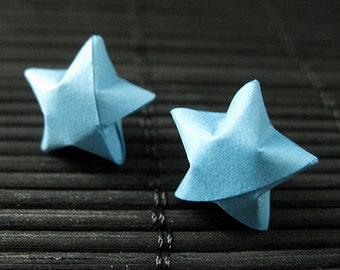 Star Earrings. Blue Star Earrings. Oragimi Star Earrings. Paper Star Earrings. Silver Post Earrings. Stud Earrings. Oragami Jewelry.
