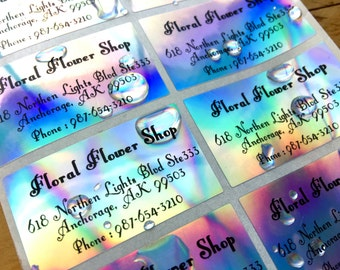 30 Waterproof Custom Return Address Labels - Silver Hologram
