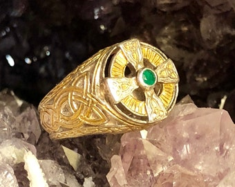 Sterling Silver Gold Gilt Power Of The Emerald Isle Cross Celtic Vintage Ring