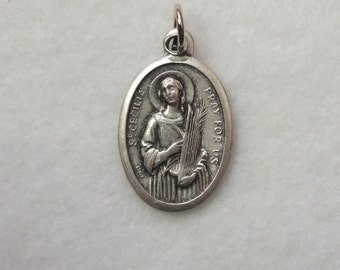 St cecilia etsy st cecilia cecily caecilia patroness of musicians music religious catholic patron saint reversible medal metal oval aloadofball Image collections