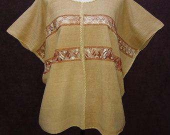 Mexican Handmade Crocheted Light Brown Womens Tunic