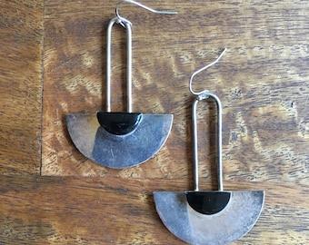 Vintage Sterling Silver Black Dangle Drop Half Circle Earrings