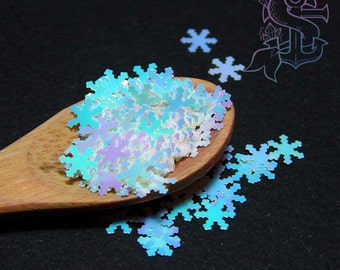 "Color shifting iridescent glitter ""What's this?"" snow flake 4gr 6mm, nail art, nail gel, nail acrylic, UV resin, resin supplies."