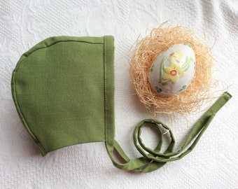 Bonnet.Baby Bonnet.Green Bonnet.Handmade Bonnet.Gender Neutral Bonnet.Linen Bonnet