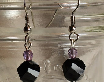 Black and Purple Glass Dangle Earrings