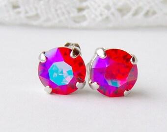 Siam glacier blue rhinestone stud earrings / 8mm / Swarovski / hot pink / girlfriend gift / gift for her / Unique / pink crystal earrings