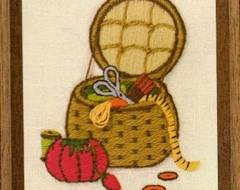PDF Vintage Crewel Embroidery Mini Sewing Basket Pattern PDF Retro Kitsch 1970s Needlepoint Design Instant Digital Download 5x7
