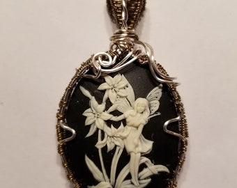 Fairy cameo pendant, fae, cameo, wire wrapped cameo