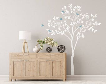 VINYL tree with birds / leafy tree wall decal / tall tree decal / realistic tree decal / living room wall art / tree and birds