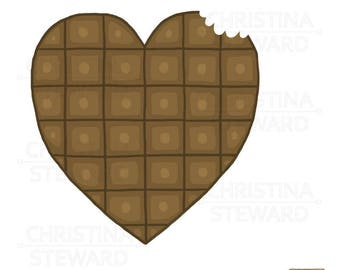 Chocolate Heart Clip Art, Chocolate Illustration, Candy Clip Art, I Love Chocolate, Candy Heart, Digital Download, Commercial Use, PNG