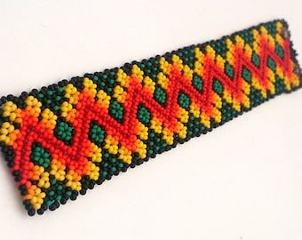 Mexican jewelry art Huichol cuff Beaded bracelet native american style for men and women