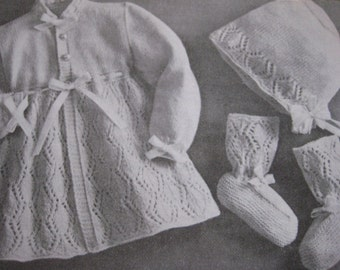 Vintage Knitting Baby Patterns Sweater Bonnet Booties Diamond Lace Pattern PDF Pattern P111a