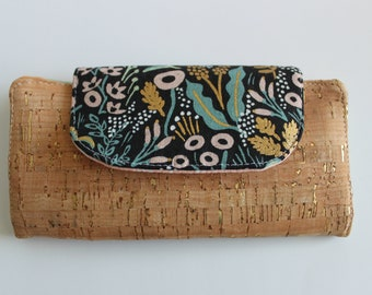 Floral Canvas and Cork Wallet, Women's Wallet, Slimline Wallet, Vegan Wallet, Ladies Wallet, Gift for Her, Card Wallet, Gift for Mom