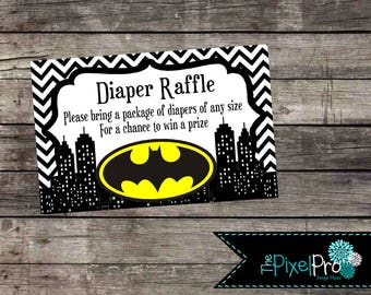 Batman Baby Shower Invitation Diaper Raffle Insert, Boy Baby Shower Batman  Insert, Batman Diaper