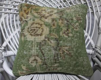green pillows floral pillow indoor pillow bedding sham 16x16 kilim pillows turkish vintage pillows cushion cover 40x40 cm throw pillows 4722