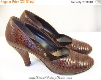 "Vintage Lizard Skin Shoes 3 1/4"" Heels Pumps  SZ 5 1/2  -  6"
