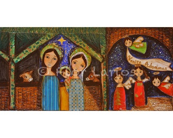 Venite Adoremus -  Giclee print mounted on Wood (5 x 10 inches) Folk Art  by FLOR LARIOS