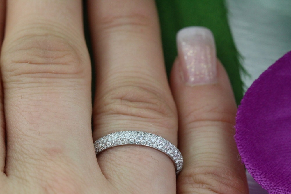 1.00ct HALFWAY 4-Row Fine Micro Pave band F VS2 14K White