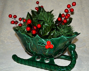 Lefton Large Holly Berry Sleigh