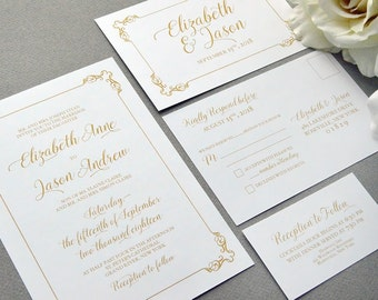 Formal Wedding Invitations, Elegant Wedding Invitation Suite, Gold and Oxblood Wedding Pocket Invite Set Classic Wedding Invites Calligraphy