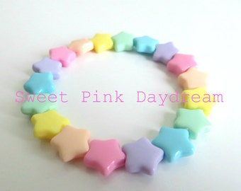 Fairy Kei Pastel Stars Bracelet, kawaii bracelet, pastel jewelry, star bracelet, rainbow bracelet,cute bracelet,gifts for teens