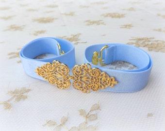 Light blue belt. Elastic waist belt. Dress belt. Blue belt. Gold filigree belt. Stretch belt. Bridal belt. Bridesmaids belt. Wedding belt.