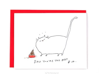 Cat Dad Card - Father's Day card - Dad You're the Best - Card from the Cat