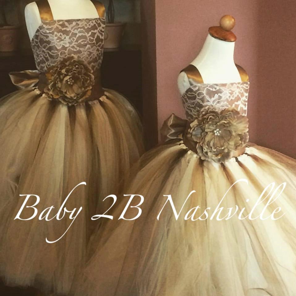 Gold Dress Flower Girl Dress Vintage Tulle Dress Wedding
