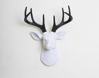 Fake Deer Head - The MINI Maud - White W/ Black Antlers Resin Deer Head- Stag Resin White Faux Taxidermy