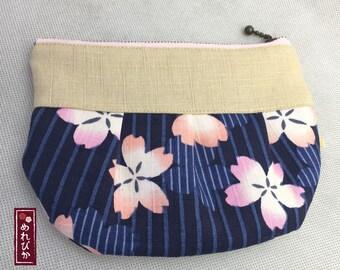 Cosme Pouch Japanese style Kimono fabrics Pleated Pouch Navy Sakura Gift - Free Shipping!!