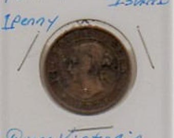 1871 Prince Edward Island One Penny in mylar holder. free shipping.