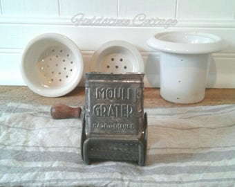 Rustic French Mouli Grater, Vintage, Cheese Grater, Farmhouse, Cottage, Kitchen Decor