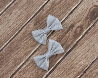 Small Silver Bows, Small Bows, Baby Clips, Silver Hair Bows, Small Baby Bows, Baby Hair Clips, Silver Hair Clips, Silver Pigtail Bows