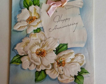 Vintage 1950s Gardenia Flower  Happy Anniversary  Card with pink bow Greeting Card