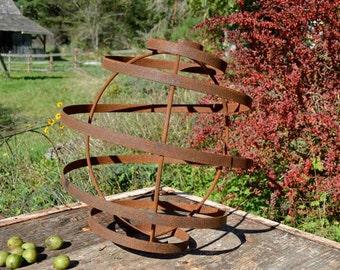 """Garden Sphere, 18"""" Orb, rusted metal"""