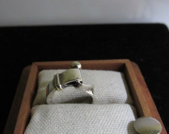 Tiffany and  Co. Sterling Silver 925   Gold Hook & Eye Ring