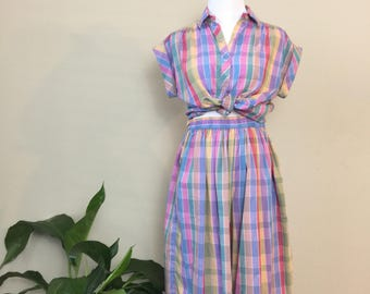 womens vintage plaid two piece