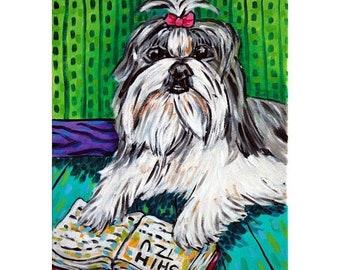 Shih Tzu Reading a Book Dog Art Print