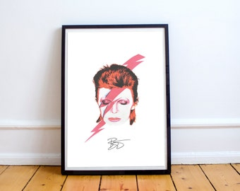 David Bowie 'Aladdin Sane' signature print, David Bowie printable, poster, pop art, culture star, music celebrity, Major Tom, Ziggy Stardust