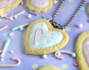 Statement Necklace, Heart Necklace, Kawaii Necklace, Food Jewelry, Cookie Necklace, Sugar Cookie, Fairy Kei, Lolita Jewelry, Cookie Jewelry