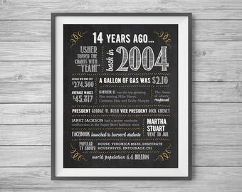 14th Birthday or Anniversary Chalk Sign, Printable 8x10 and 16x20, Party Supplies, 14 Years Ago in 2004, Instant Digital Download