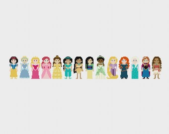 UPDATED 2017 | Disney Princess Once Upon A Time Cross Stitch Pattern PDF Instant Download