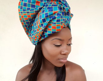 African Print Head Wrap / Ankara Head Wrap / Gift / Turban / Wax Print / Kente